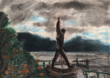 """Montreux: The Rain Curtain"". Charcoal & pastels."